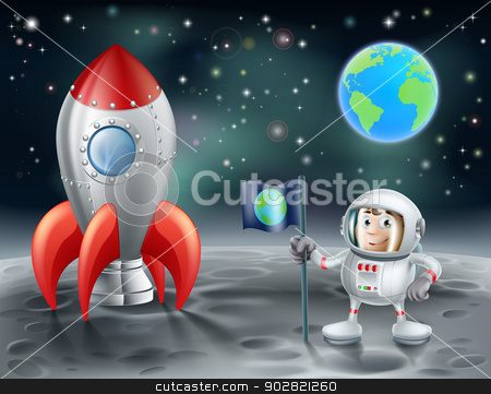 Cartoon astronaut and vintage space rocket on the moon stock vector clipart, An illustration of a cartoon astronaut and vintage space rocket on the moon with the planet earth in the distance by Christos Georghiou