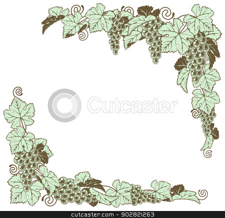 Grape vine border design stock vector clipart, A grapevine border frame design element in a retro woodblock or woodcut vintage print style by Christos Georghiou
