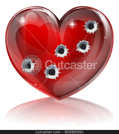 Bullet hole heart concept stock vector clipart, Bullet hole heart concept of a heart shaped icon with bullet holes. Concept for broken heart or other love or relationships issue concept. by Christos Georghiou