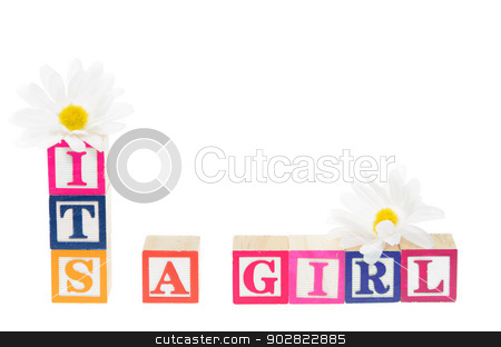 Letter blocks spelling 'its a girl' with flowers stock photo, Letter blocks spelling its a girl with flowers. Isolated on a white background by Richard Nelson
