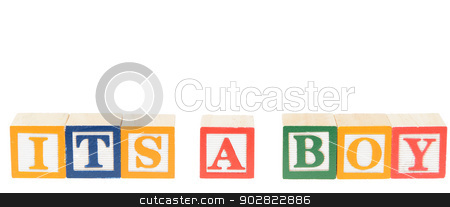 Letter blocks spelling its a boy stock photo, Letter blocks spelling its a boy. Isolated on a white background. by Richard Nelson