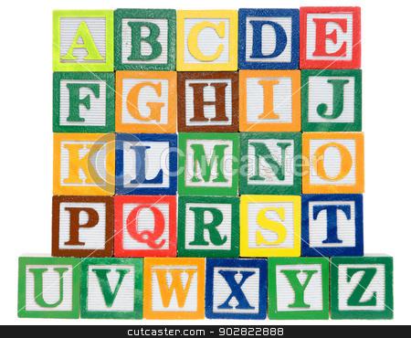 Letter blocks in alphabetical order stock photo, Letter blocks in alphabetical order. Isolated on a white background by Richard Nelson