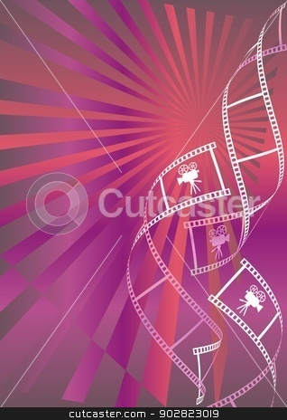 Movie background stock vector clipart, Shiny red and violet movie background with curl film stripes and movie icons by blumer