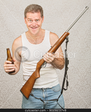 Man with Rifle and Beer stock photo, Single male hillbilly holding beer and rifle by Scott Griessel