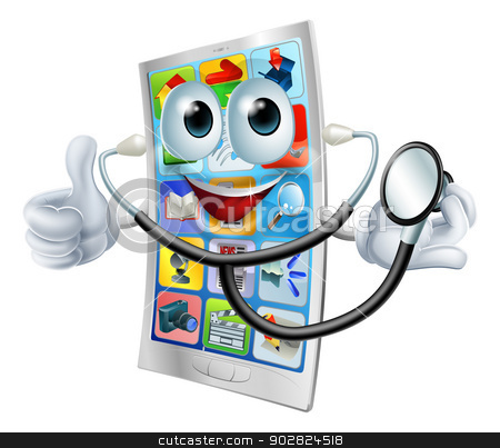 Cartoon phone holding a stethoscope stock vector clipart, Cartoon phone mascot man holding a stethoscope and giving a thumbs up by Christos Georghiou