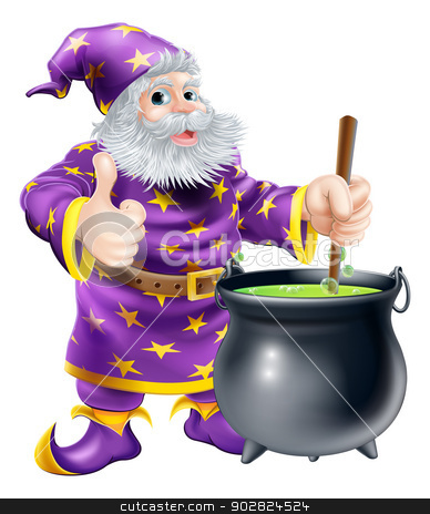 Wizard stirring cauldron stock vector clipart, Cartoon of a happy old wizard character stirring a big black cauldron with bubbling green brew in it by Christos Georghiou