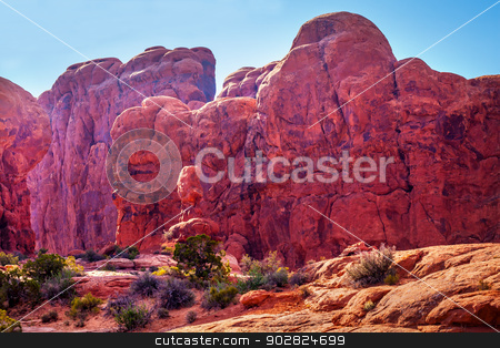 March of Elephants Garden of Eden Arches National Park Moab Utah stock photo, March of Elephants Garden of Eden Windows Section Arches National Park Moab Utah USA Southwest.  by William Perry