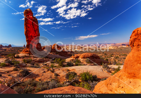 Rock Pillar Sandstone Hoodoo Arches National Park Moab Utah  stock photo, Classic Rock Pillar Sandstone Hoodoo Garden of Eden Arches National Park Moab Utah USA Southwest.  by William Perry