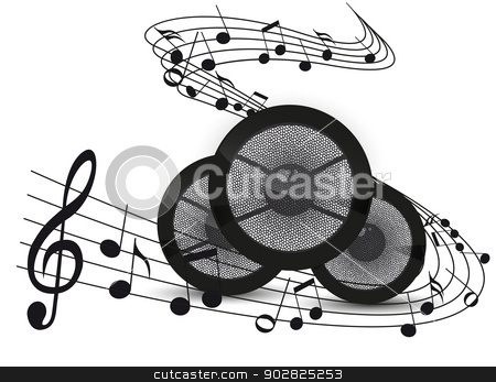 music background stock vector clipart, Music background with notes and speakers by Miroslava Hlavacova