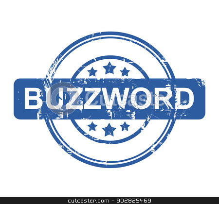 Buzzword stock photo, Buzzword business stamp with stars isolated on a white background. by Martin Crowdy