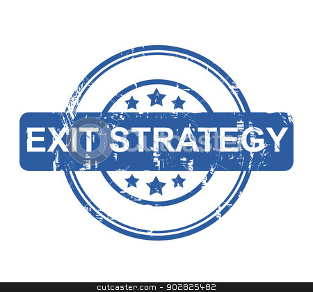 Exit Strategy stock photo, Blue business exit strategy stamp with stars isolated on a white background. by Martin Crowdy