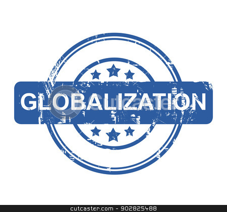 Globalization stock photo, Globalization business stamp with stars isolated on a white background. by Martin Crowdy