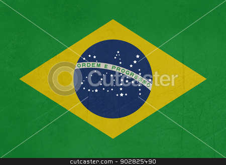 Grunge 2014 Brazil flag stock photo, Illustration of abstract grunge 2014 flag of Brazil. by Martin Crowdy