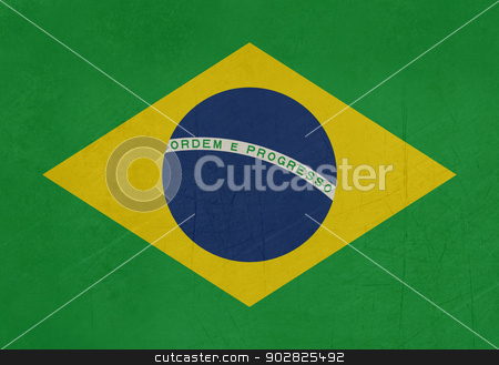 Grunge Brazil flag stock photo, Illustration of abstract grunge flag of Brazil with copy space. by Martin Crowdy