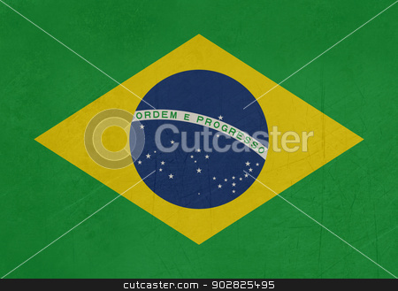Grunge Brazil flag stock photo, Illustration of abstract grunge flag of Brazil. by Martin Crowdy