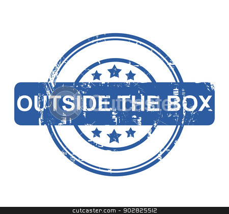Outside the box stock photo, Outside the box business stamp with stars isolated on a white background. by Martin Crowdy