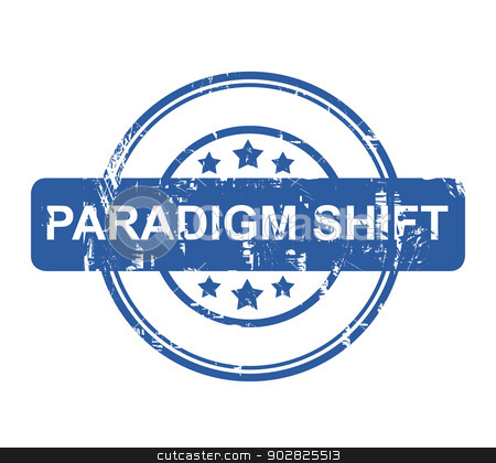 Paradigm Shift stock photo, Paradigm Shift business stamp with stars isolated on a white background. by Martin Crowdy