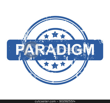 Paradigm stock photo, Paradigm business stamp with stars isolated on a white background. by Martin Crowdy