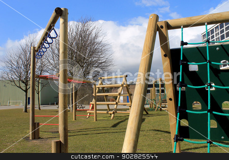 School playground stock photo, Secondary school playground with climbing frame, Scarborough, England. by Martin Crowdy