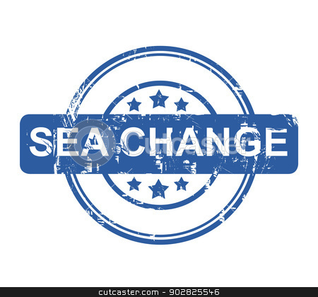 Sea Change stock photo, Sea Change business stamp with stars isolated on a white background. by Martin Crowdy
