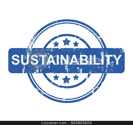 Sustainability stock photo, Sustainability business stamp isolated on white background. by Martin Crowdy