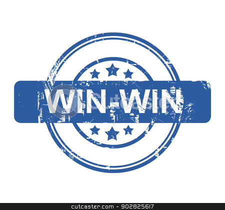 Win-win stock photo, Win-win business stamp with stars isolated on a white background. by Martin Crowdy