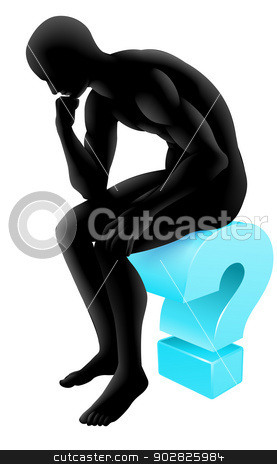 Thinking on question mark silhouette stock vector clipart, Silhouette man on a question mark icon in thinking in a thinker pose. Concept for any questioning or psychology, poetry or philosophy. by Christos Georghiou