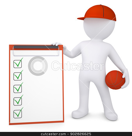 3d basketball player with the checklist stock photo, 3d basketball player with the checklist. Isolated render on a white background by cherezoff