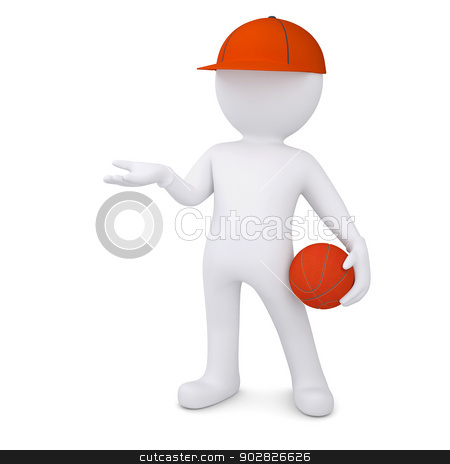 3d basketball player with the ball stock photo, 3d basketball player with the ball. Isolated render on a white background by cherezoff