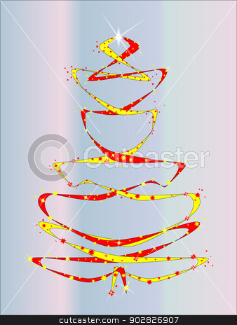 Blue Christmas Tree stock vector clipart, A christmas tree comprising of ribbons and stars. by Kotto