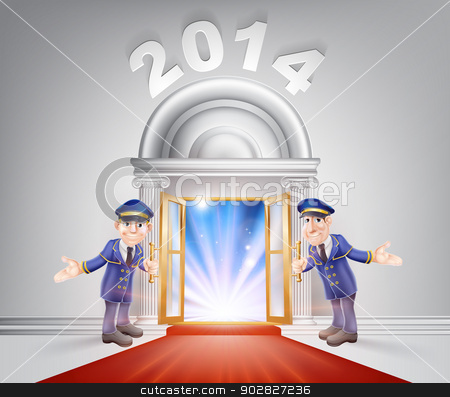 New Year 2014 Red Carpet stock vector clipart, New Year Door 2014 concept of a doormen holding open a red carpet entrance to the new year with light streaming through it.  by Christos Georghiou