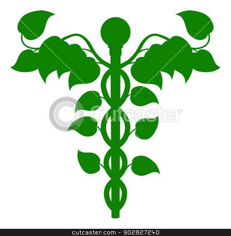 Caduceus DNA or holistic medicine concept stock vector clipart, Illustration of a caduceus made up of leaves, DNA or holistic medicine concept by Christos Georghiou