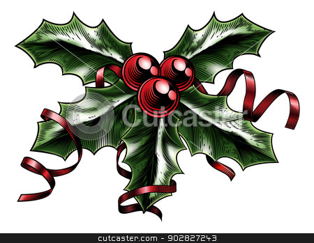 Vintage Christmas Holly Illustration stock vector clipart, A vintage Christmas holly sprig with ribbon and bow in a woodblock, woodcut, etching or lithograph print style by Christos Georghiou