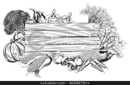Vintage retro woodcut vegetable sign stock vector clipart, A vintage retro woodcut print or etching style vegetable wooden sign illustration by Christos Georghiou