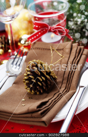 Christmas table place setting stock photo, Christmas table place setting with christmas decorations by klenova