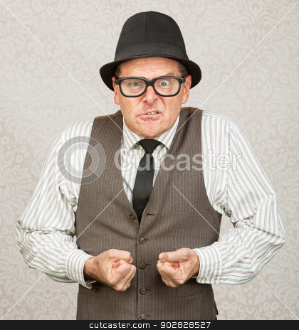 Insulted Businessman stock photo, Insulted white male with eyeglasses clenching fists by Scott Griessel