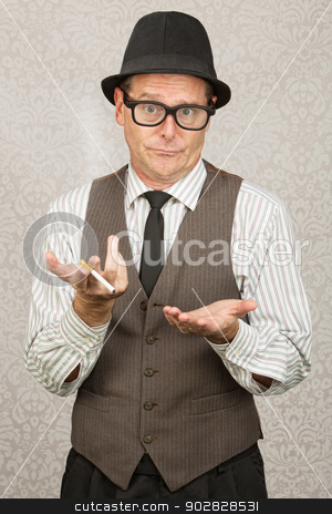 Indifferent Man in Hat stock photo, Indifferent European businessman with cigarette and open hands by Scott Griessel