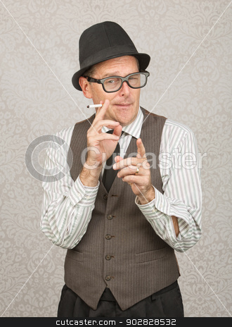 Smoking Man Pointing stock photo, Man in hat and eyeglasses smoking with finger pointing by Scott Griessel