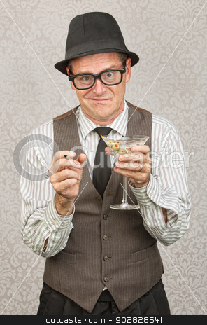 Drunk Man with Martini stock photo, Drunk businessman holding martini and cigarette by Scott Griessel