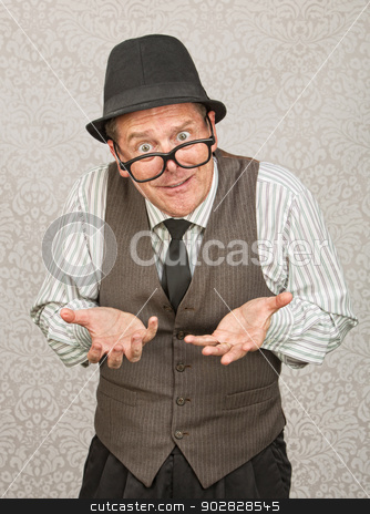 Begging Businessman stock photo, Single businessman in hat and eyeglasses with open hands by Scott Griessel