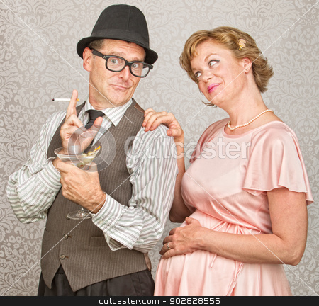 Concerned Woman with Smoking Man stock photo, Smoking man with martini and concerned pregnant wife by Scott Griessel