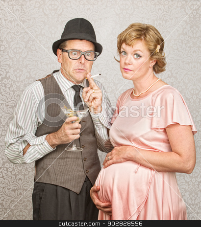 Worried Pregnant Couple stock photo, Worried man with martini and cigarette next to pregnant woman by Scott Griessel