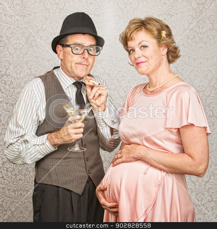 Embarrassed Smoker with Woman stock photo, Embarrassed smoker next to smiling pregnant female by Scott Griessel