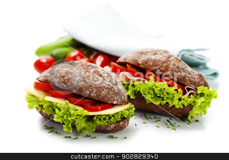 sandwiches stock photo, Grain bread sandwiches with ham,cheese and fresh vegetables over white - healthy eating concept by klenova