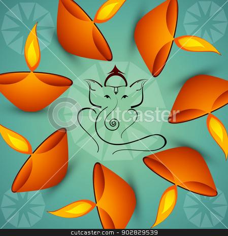 Beautiful Artistic colorful  Hindu Lord Ganesha background  stock vector clipart, Beautiful Artistic colorful  Hindu Lord Ganesha background  by bharat pandey