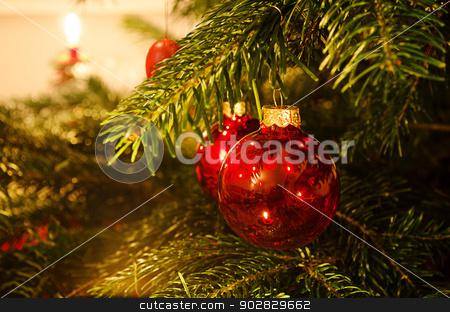 Christmas decoration stock photo, Decoration on traditional christmas tree. by Nils Prause