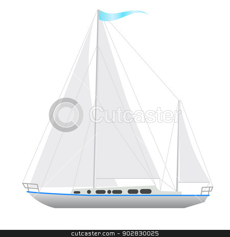 Sailing boat floating.  stock vector clipart, Sailing boat floating. Vector illustration. by aarrows