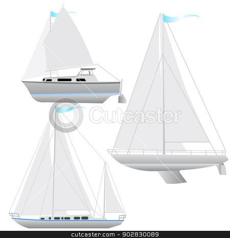 Set sailing boat floating.  stock vector clipart, Set sailing boat floating. Vector illustration. by aarrows