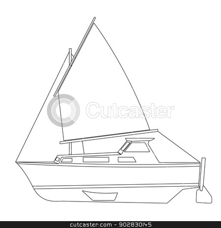 Sailing boat floating. Vector illustration. stock vector clipart, Sailing boat floating. Vector illustration. by aarrows