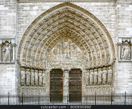 Entrance of the Notre Dame in Paris stock photo, Entrance of the Notre Dame in Paris by WDGPhoto
